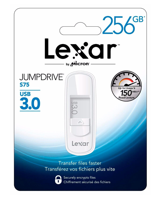 Resultado de imagen para MEMORIA DE 256GB JUMPDRIVE S75 USB 3.0 LEXAR